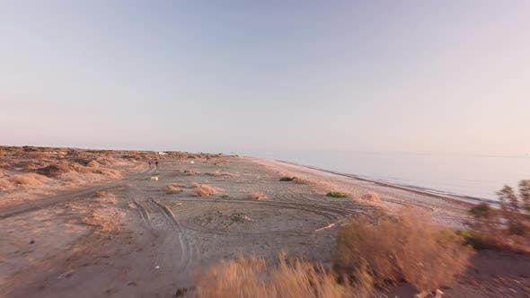 Thumbnail for Almeria natural beach filming with drone flying fast