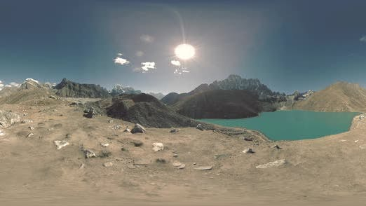 Thumbnail for VR Timelapse Gokyo Ri Mountain Lake at the Winter Season. Wild Himalayas High Altitude Nature