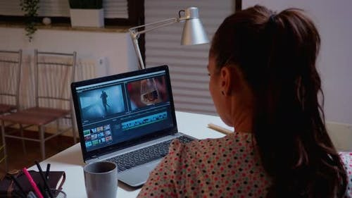 Content Creator in Home Working on Montage of Film