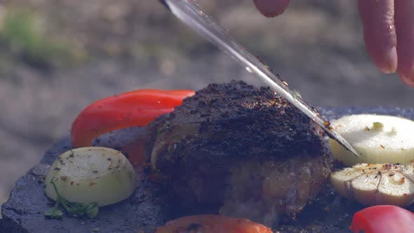 Thumbnail for Picnic, Appetizing Succulent Beefsteak Fried on Bonfire on Hot Stone with Spice and Vegetables in