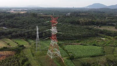 Drone view architecture electric pylon