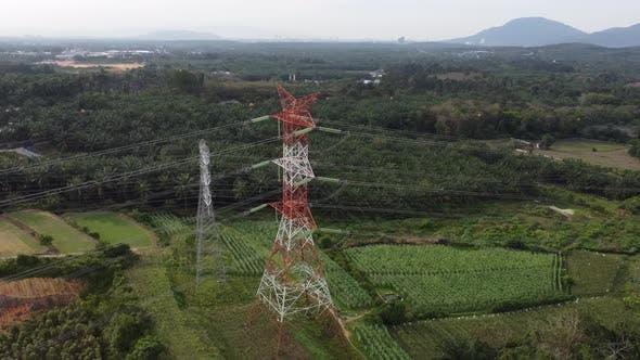 Drone view architecture electric pylon