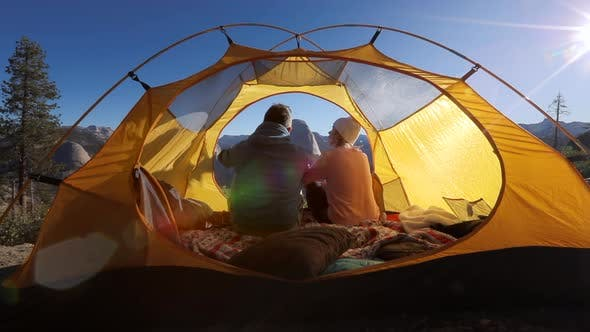 Thumbnail for Early Morning in Yosemite Valley. A Couple in a Tent Enjoy the Beauty of Nature. Sierra Nevada, USA