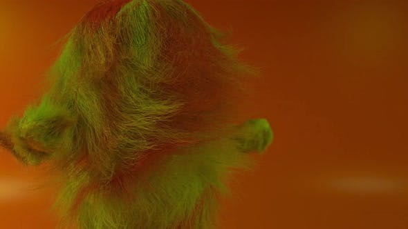 Cheerful Colorful Hairy Cartoon Dancing Character Furry Animal Having Fun Furry Mascot Animation
