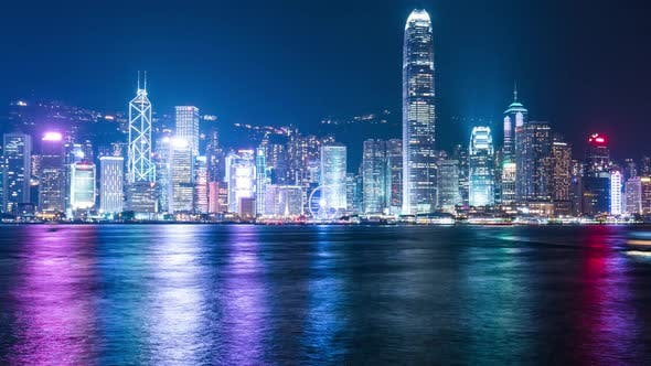 Thumbnail for Time lapse of people watching A Symphony of Lights in Hong Kong at night