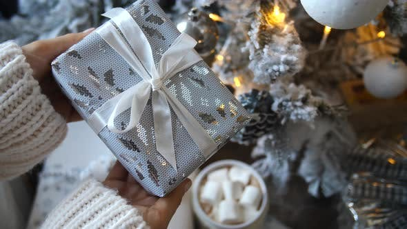 Cover Image for Giving Presents at Christmas, Celebration, Winter Holiday Season Concept