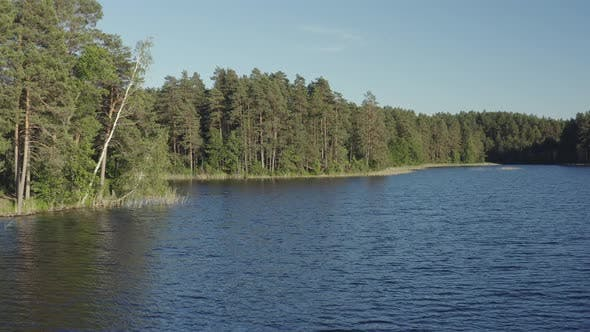 Thumbnail for Flying Over Forest Lake Water