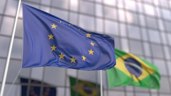 Waving Flags of the EU and Brazil