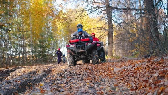 Thumbnail for Outdoor Activity - People Walking in Forest and Sitting on ATVs