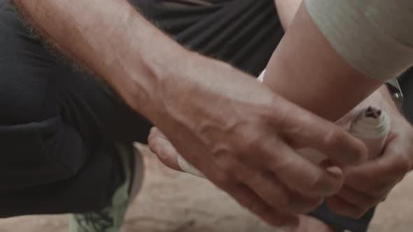 Thumbnail for Treatment of Injured Leg of Sportswoman