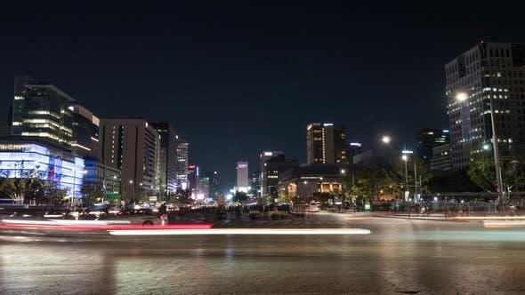 Timelapse of traffic in night Seoul, South Korea