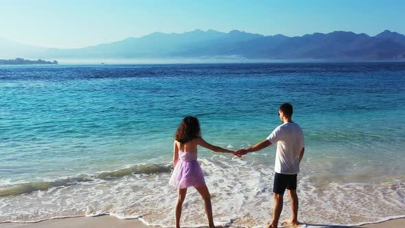 Thumbnail for Fun Lady and Man in Love Dating on Vacation Enjoy Luxury on Beach on Clean White Sand