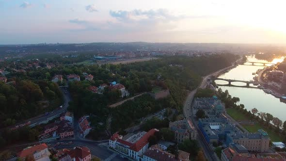 Thumbnail for Aerial View of Prague City and River Vitava at Day