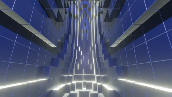 Thumbnail for Graphic Cubes In Motion With Blue Neon Lights