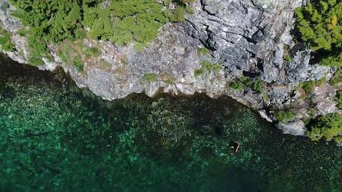 Adventurous Man Jumping Extreme Sports Flip Into Aqua Colored Lake