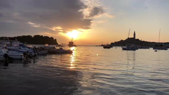 Sunset time lapse from the croatian fishing port Rovinj
