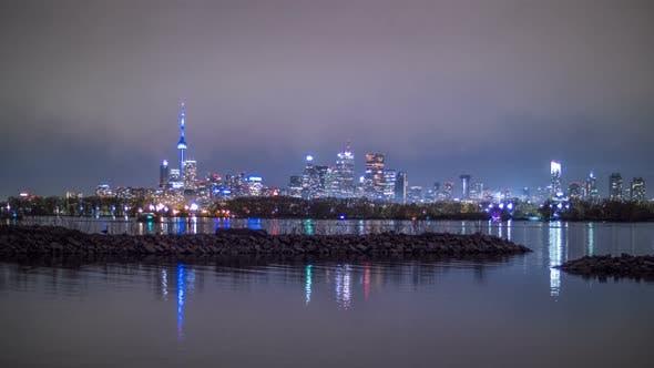 Thumbnail for Toronto Night Time Skyline Cityscape Timelapse