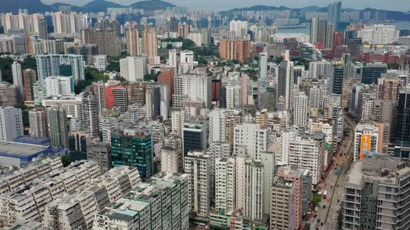Cover Image for Top view of Hong Kong downtown city in Kowloon side