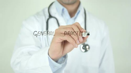 General Practitioner, Doctor Writing on Transparent Screen