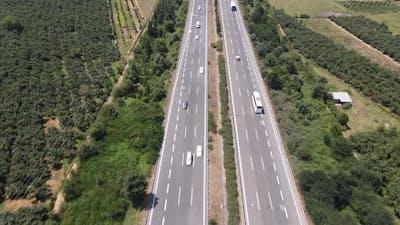 Driving Car Drone Shot