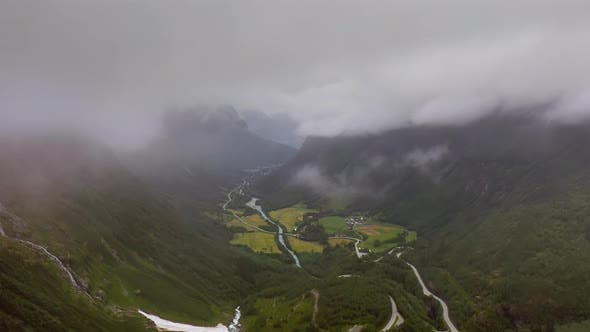 Thumbnail for Aerial Footage Beautiful Nature Norway Over the Clouds.
