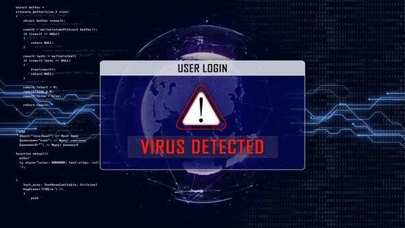 VIRUS DETECTED and User Login Interface