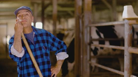 Thumbnail for Confident Mature Male Farmer Holding Pitchfork in Stable