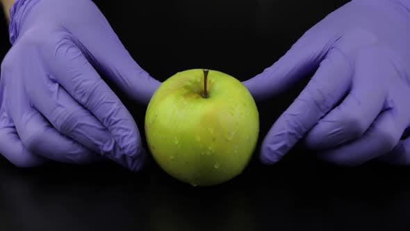 Thumbnail for Doctor Takes Away Syringe, Ampoule, Pills. Puts an Apple Fruit. Vitamin Cure