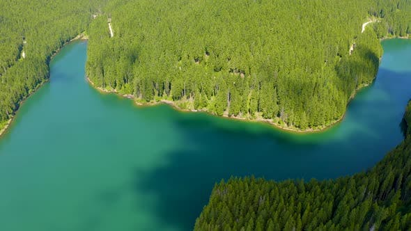 Thumbnail for Mountain lake with turquoise water and green trees, Reflection in the water, Baikal Lake