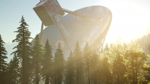Thumbnail for The Observatory Radio Telescope in Forest at Sunset