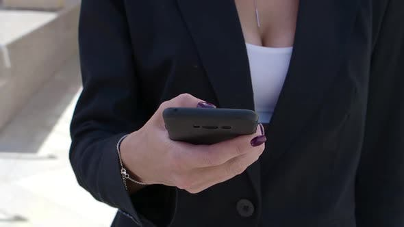 Thumbnail for Businesswoman Calling Someone on Mobile Phone. Outdoor.