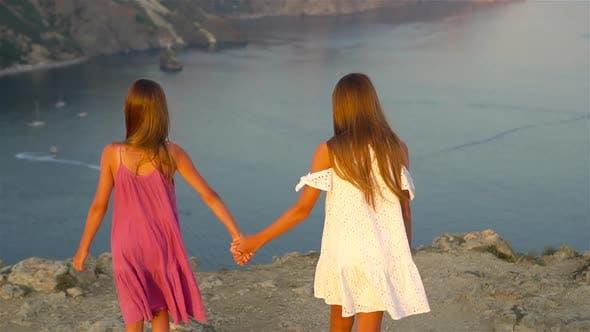 Thumbnail for Children Outdoor on Edge of Cliff Seashore