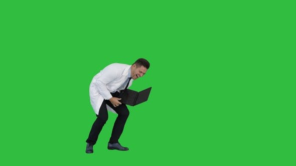 Cover Image for Entrepreneur engineer or doctor with a laptop laughing