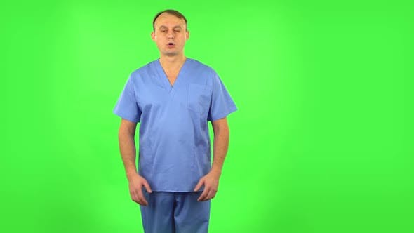 Thumbnail for Medical Man Is Upset and Tired, Sighs, Green Screen