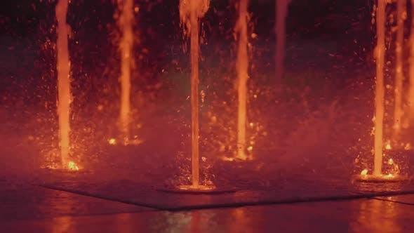 Colorful Illuminated Fountain Night Time Show