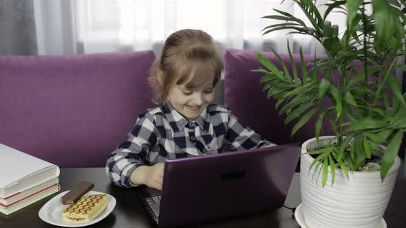 Thumbnail for Girl Doing Online Homework Using Digital Laptop Computer. Distance Education