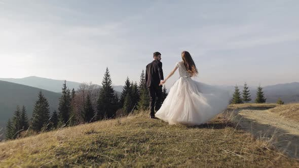 Cover Image for Newlyweds. Caucasian Groom with Bride Running on Mountain Slope. Wedding Couple