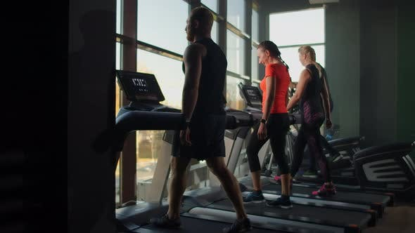 Thumbnail for Group of People in the Gym Training on Treadmills in Slow Motion