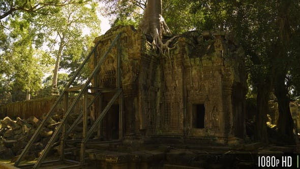 Thumbnail for Ta Prohm Khmer Temple with Overgrown Tree Roots, Angkor, Cambodia