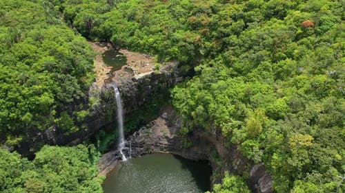 cascades of waterfalls Tamarin island of Mauritius. Aerial view.