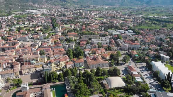 Thumbnail for Aerial Shot. Top View of the Beautiful Italian City of Riva Del Garda. Old Low Houses, Narrow