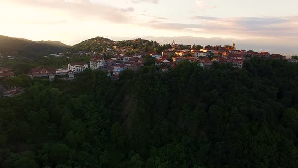 Small Touristic Sighnaghi Town Located on Green Hills of Caucasus, Golden Hour