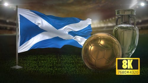 8K Scotland Flag with Football And Cup Background Loop