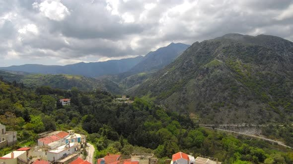 Aerial footage of mountain village at Crete Island