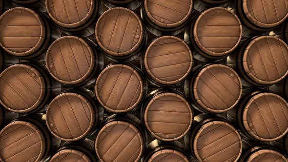 Old Wooden Barrels of Wine Whiskey and Alcohol Beer in the Dark Basement
