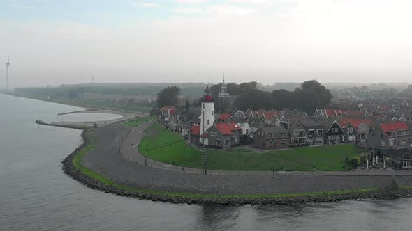 Hazy Morning Aerial View of the Town of Urk in the Netherlands