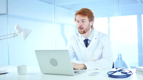 Thumbnail for Doctor Talking with Patient, Online Video Chat on Laptop