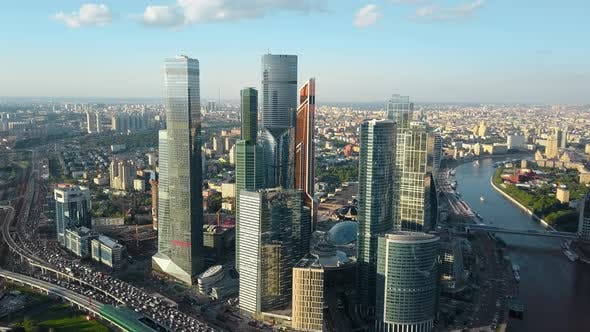 Thumbnail for Aerial View of Moscow, Russia. Cityscape with Business Centre, Traffic and River