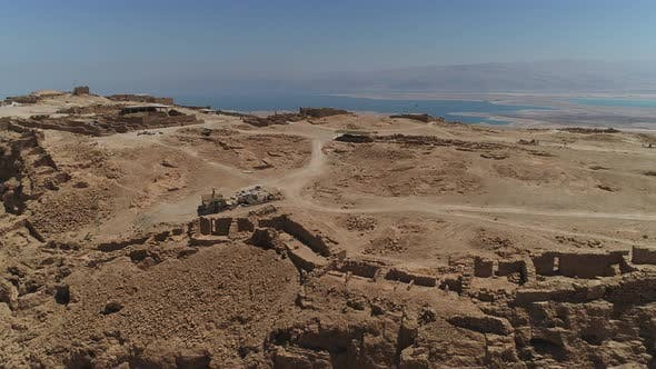 Cover Image for Aerial shot of Masada ruins and the Dead Sea