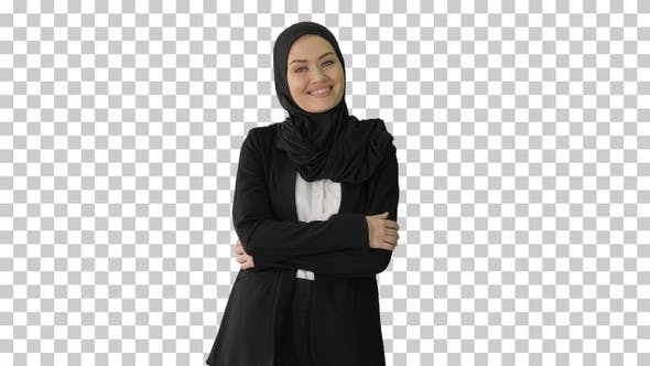 Smiling Arab businesswoman wearing hijab, Alpha Channel